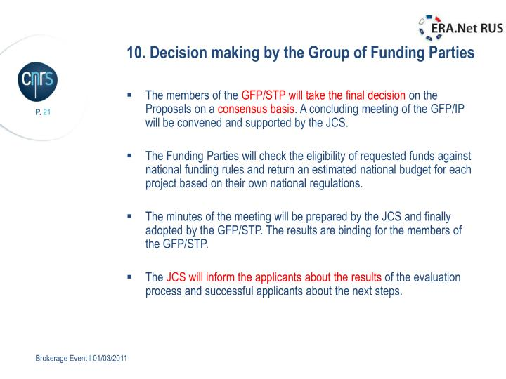 10. Decision making by the Group of Funding Parties