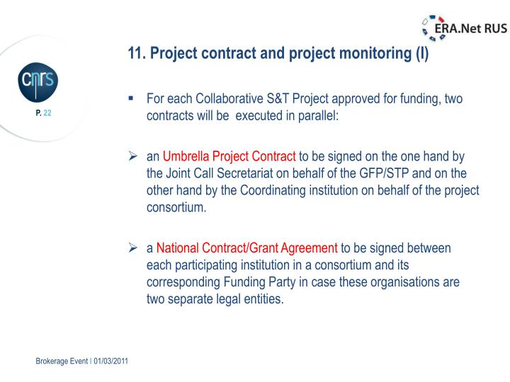 11. Project contract and project monitoring (I)