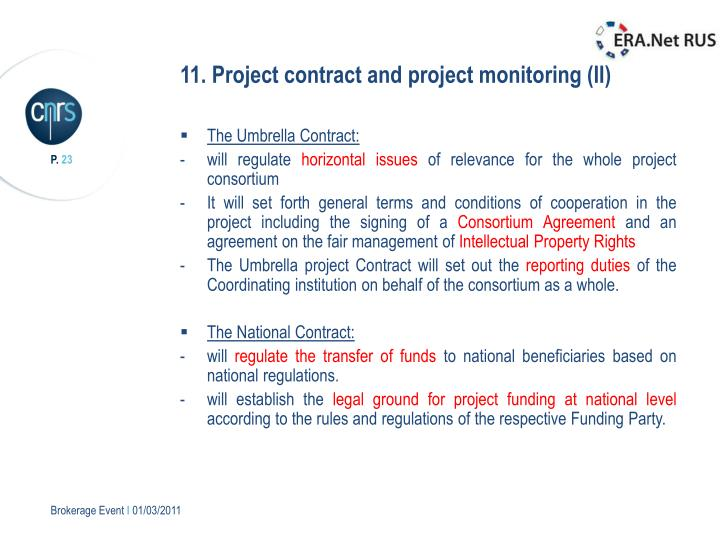 11. Project contract and project monitoring (II)