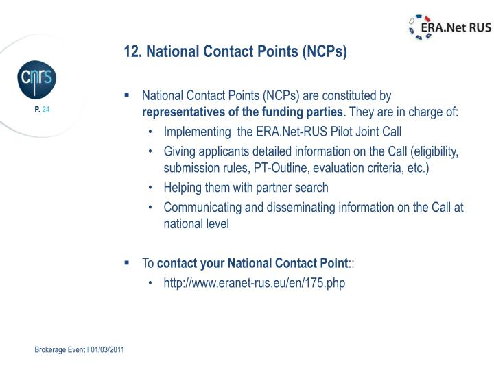 12. National Contact Points (NCPs)