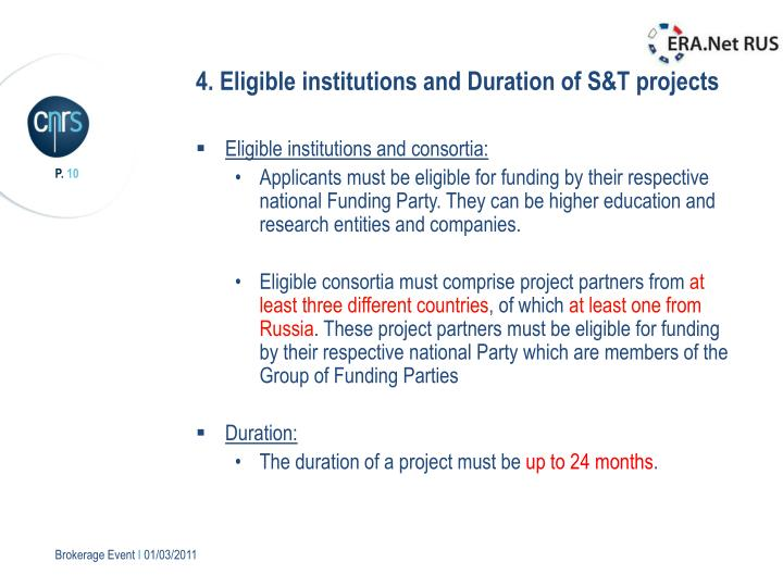 4. Eligible institutions and Duration of S&T projects