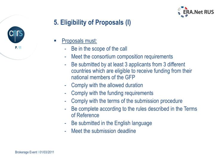 5. Eligibility of Proposals (I)