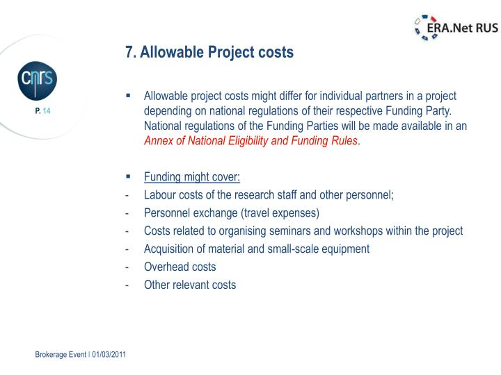 7. Allowable Project costs