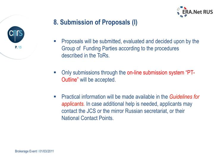 8. Submission of Proposals (I)