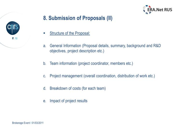 8. Submission of Proposals (II)