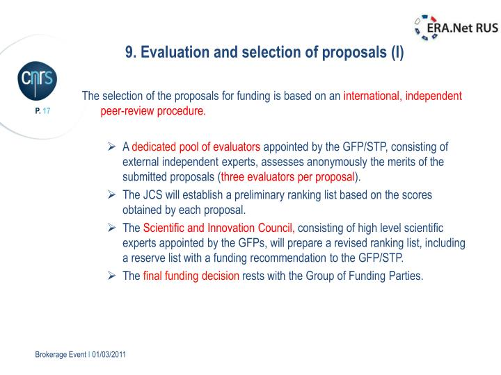 9. Evaluation and selection of proposals (I)
