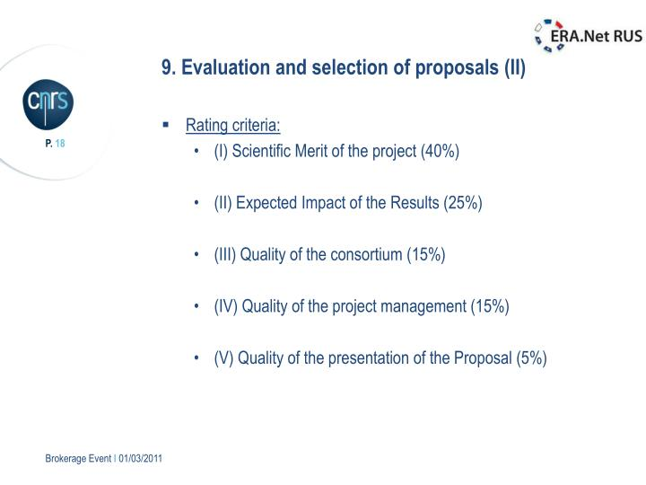 9. Evaluation and selection of proposals (II)