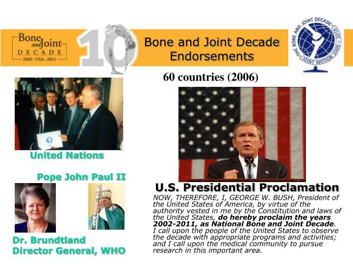 Bone and Joint Decade Endorsements