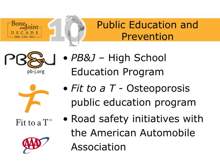 Public Education and Prevention