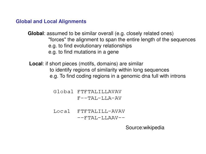Global and Local Alignments