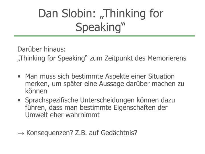 """Dan Slobin: """"Thinking for Speaking"""""""