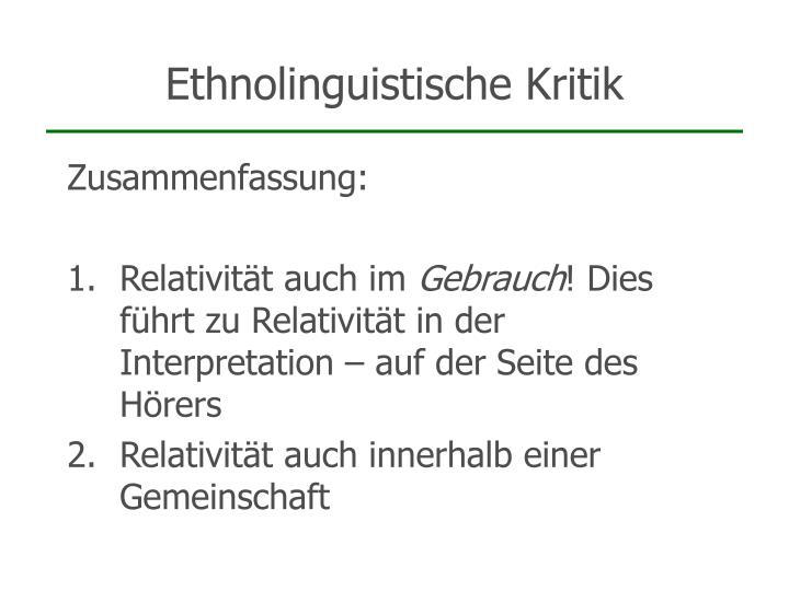 Ethnolinguistische Kritik