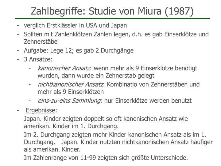 Zahlbegriffe: Studie von Miura (1987)
