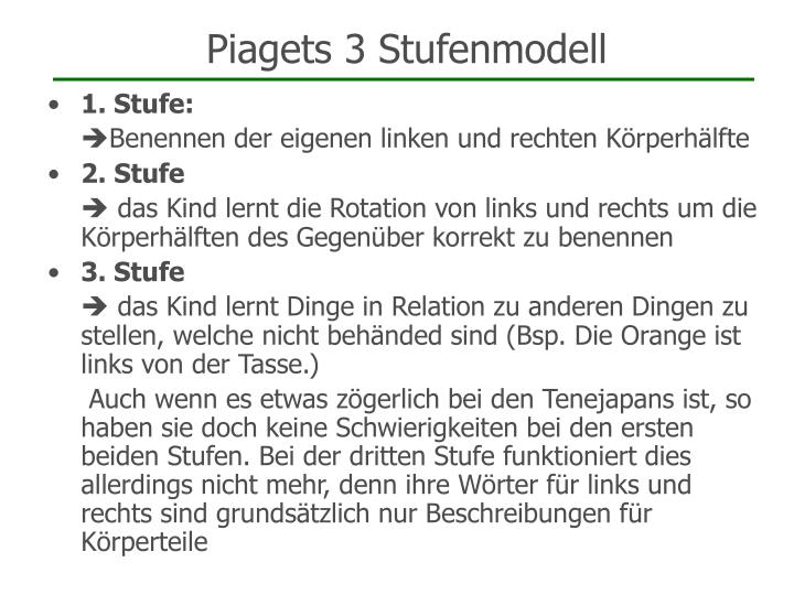 Piagets 3 Stufenmodell