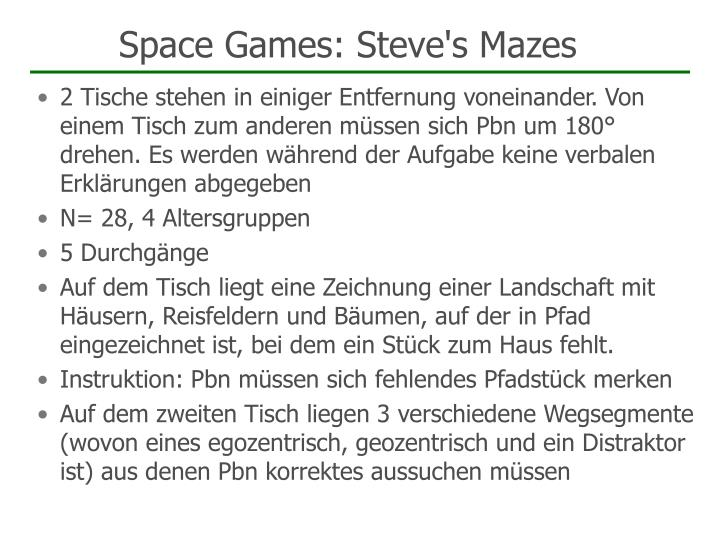 Space Games: Steve's Mazes