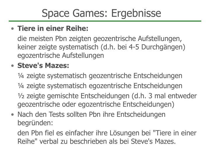 Space Games: Ergebnisse