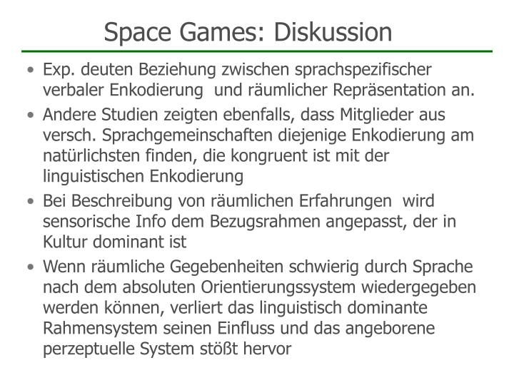 Space Games: Diskussion