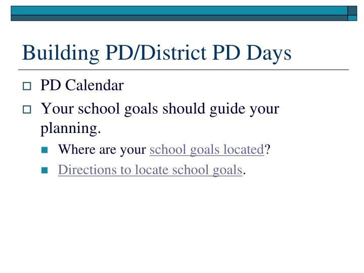 Building PD/District PD Days