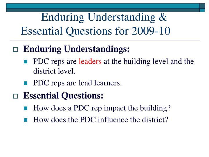 Enduring Understanding &