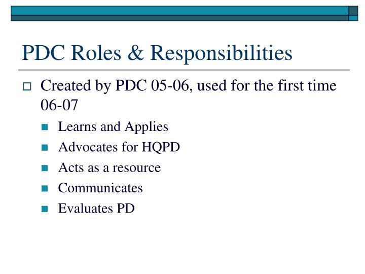 PDC Roles & Responsibilities