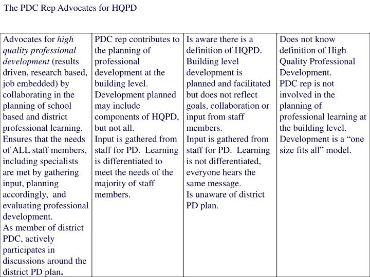 The PDC Rep Advocates for HQPD
