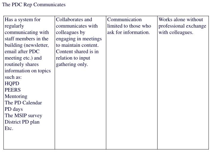 The PDC Rep Communicates
