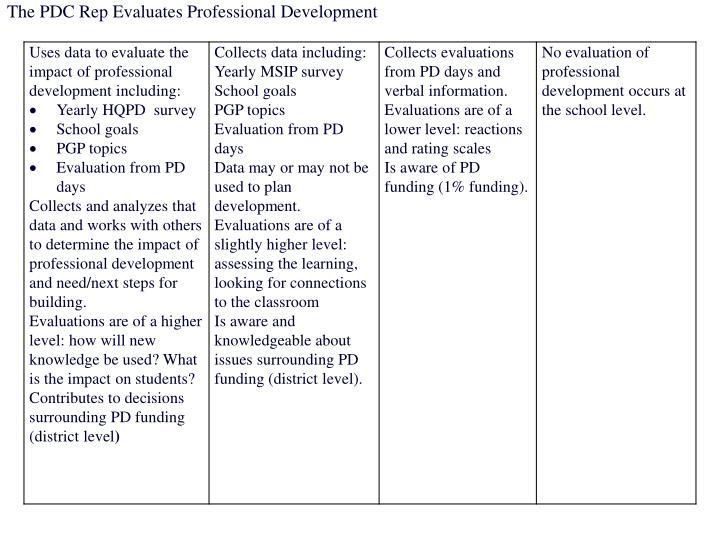 The PDC Rep Evaluates Professional Development