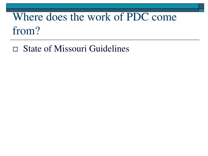 Where does the work of PDC come from?