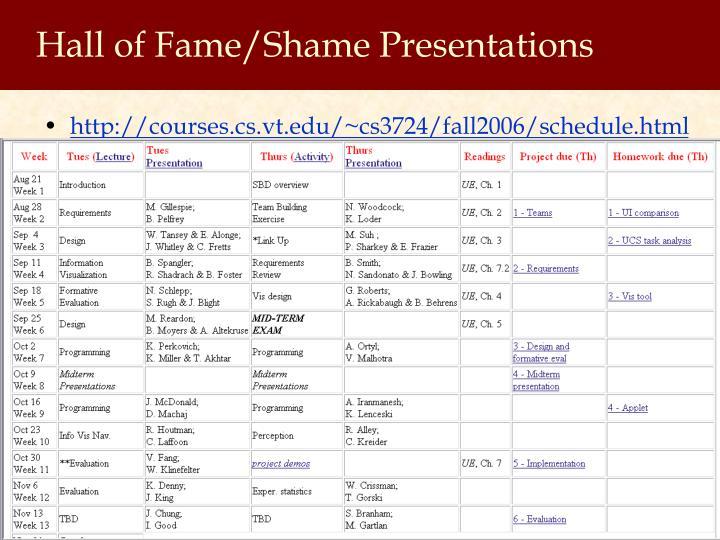 Hall of Fame/Shame Presentations
