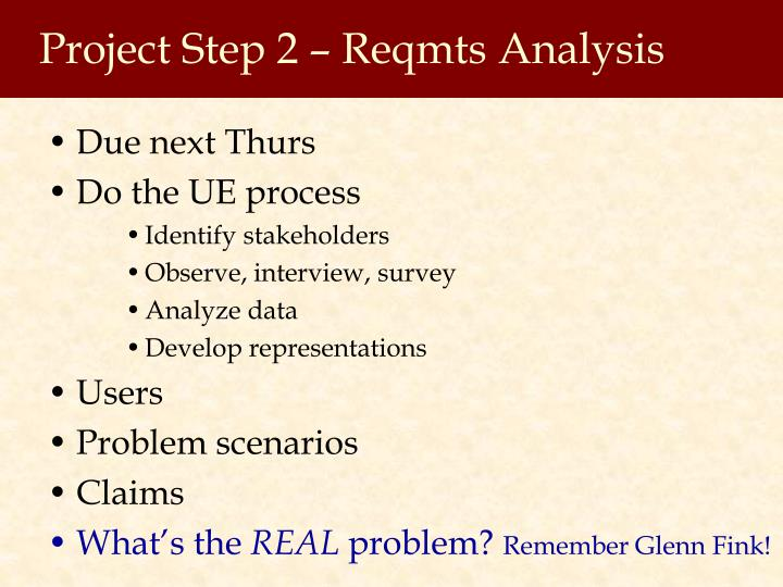 Project Step 2 – Reqmts Analysis
