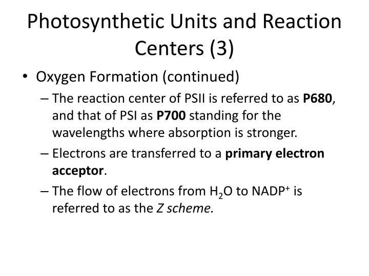 Photosynthetic Units and Reaction Centers (3)