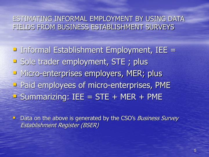ESTIMATING INFORMAL EMPLOYMENT BY USING DATA FIELDS FROM BUSINESS ESTABLISHMENT SURVEYS