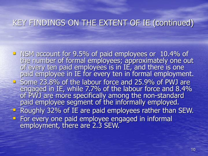 KEY FINDINGS ON THE EXTENT OF IE (continued)