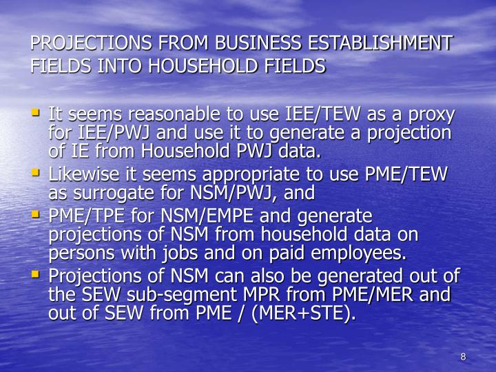 PROJECTIONS FROM BUSINESS ESTABLISHMENT FIELDS INTO HOUSEHOLD FIELDS