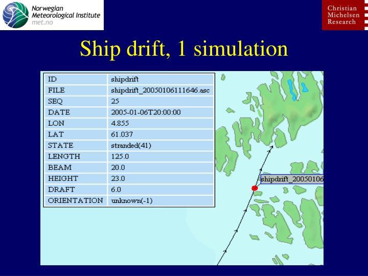 Ship drift, 1 simulation