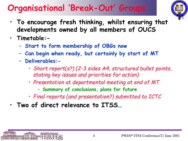 Organisational 'Break-Out' Groups