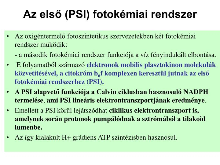 Az első (PSI) fotokémiai rendszer