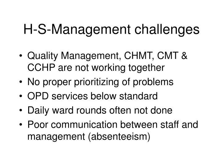 H-S-Management challenges