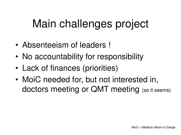 Main challenges project