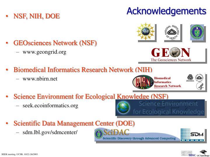 NSF, NIH, DOE