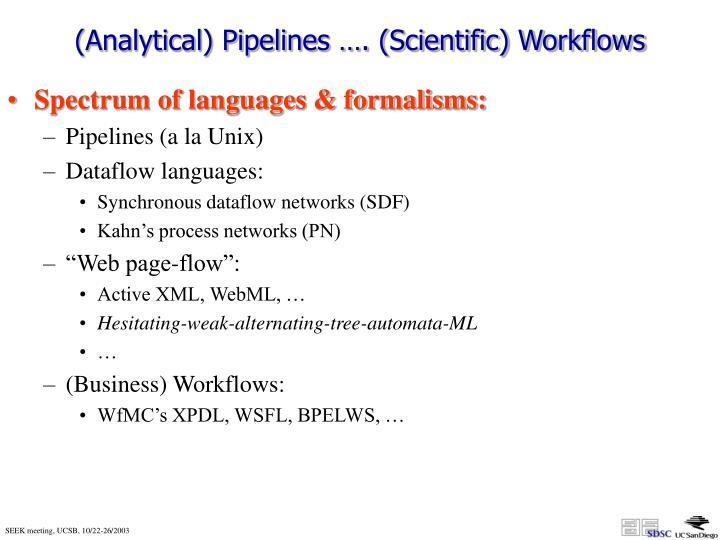 (Analytical) Pipelines …. (Scientific) Workflows
