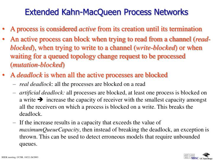 Extended Kahn-MacQueen Process Networks