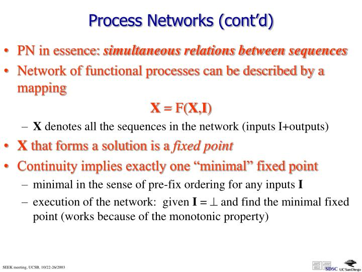 Process Networks (cont'd)