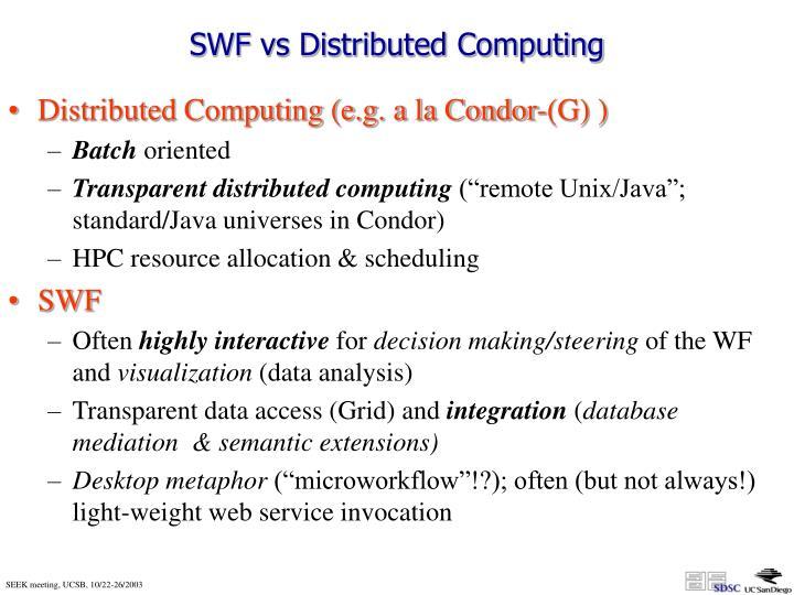SWF vs Distributed Computing