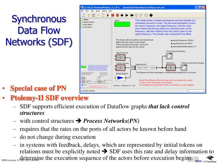 Synchronous Data Flow Networks (SDF)