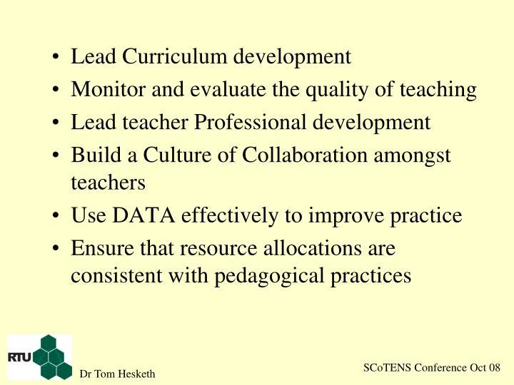 Lead Curriculum development