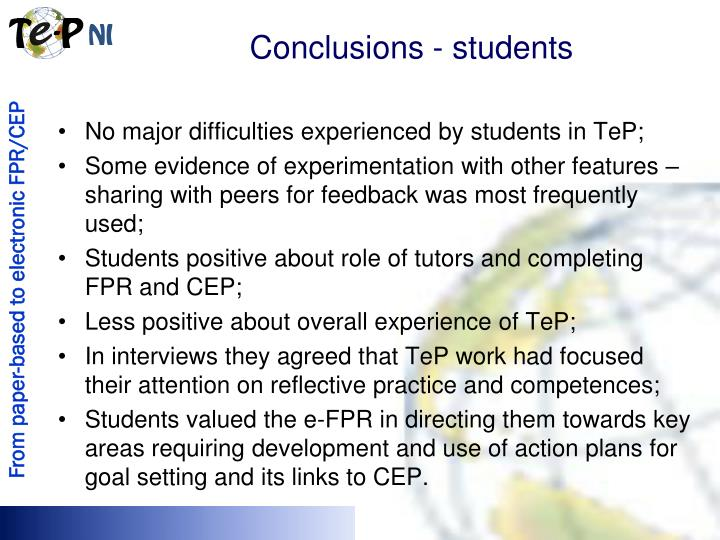 Conclusions - students