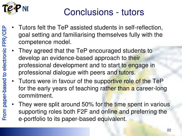 Conclusions - tutors