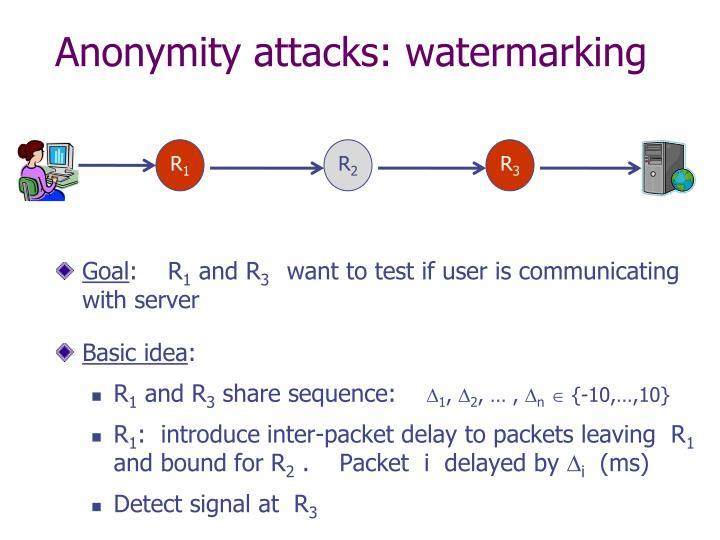 Anonymity attacks: watermarking