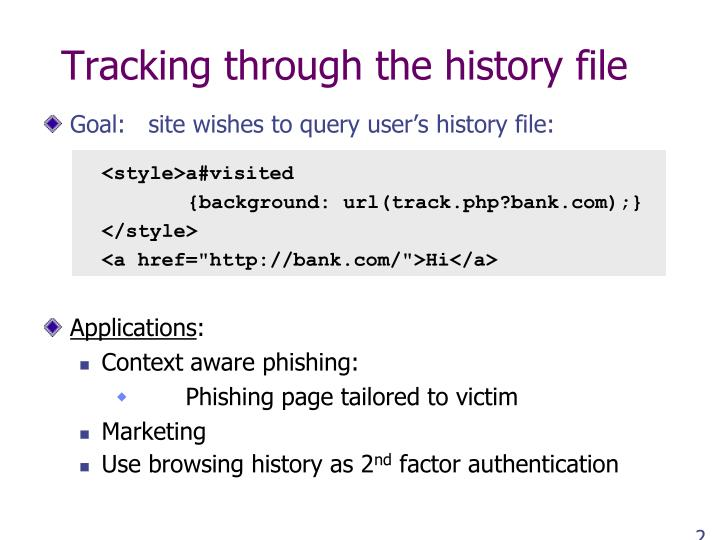 Tracking through the history file